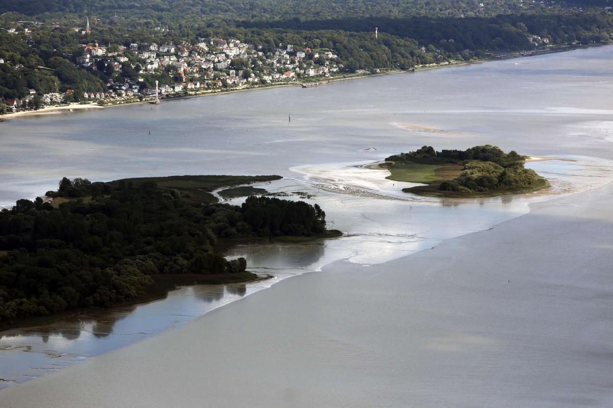 Der Blick über Elbinsel Neßsand auf die Binneninsel Neßsand