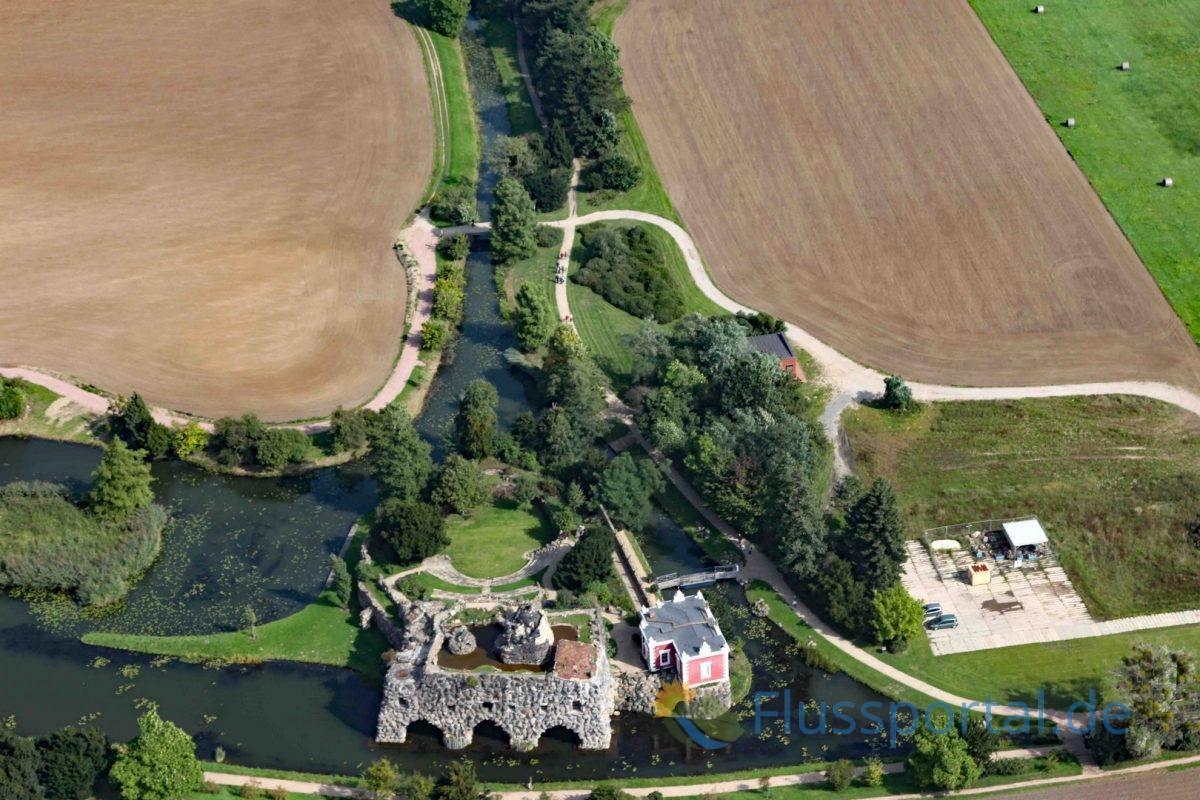 An den Feldern rechts und links des Kanals kann man die landwirtschaftlichen Flächen in den Park gut erkennen