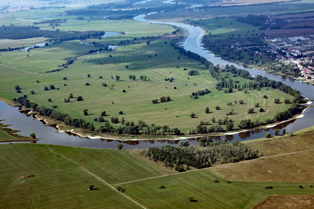Die Elbe fließt mit einem großen Bogen in das Breslau-Magdburger Urstromtal hinein