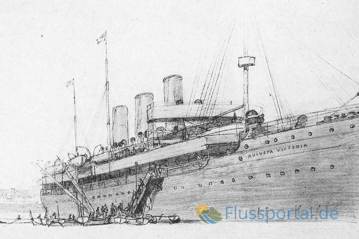 """Albert Ballin war der Erfinder der Kreuzfahrt, er sandte vom 22. Januar bis zum 21. März 1891 die Augusta Victoria zu einer """"Bildungs- und Vergnügungsfahrt"""" ins Mittelmeer"""