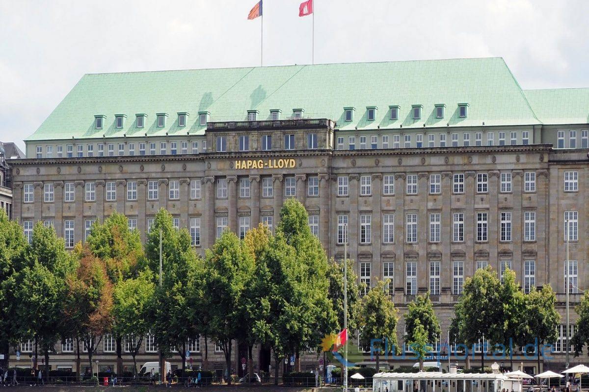 Der Hapag Lloyd Gebäude am Ballindamm, Hauptsitz der Reederei