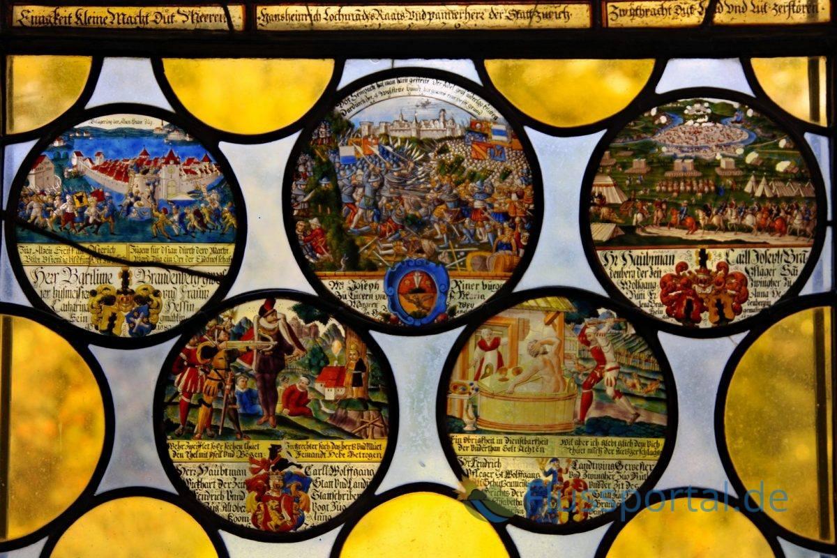 Die Schweizer sind in Wörlitz eine bedeutende Zielgruppe für den Park, die Geschichte ihrer Freiheitskriege wurde in der Glasmalerei festgehalten