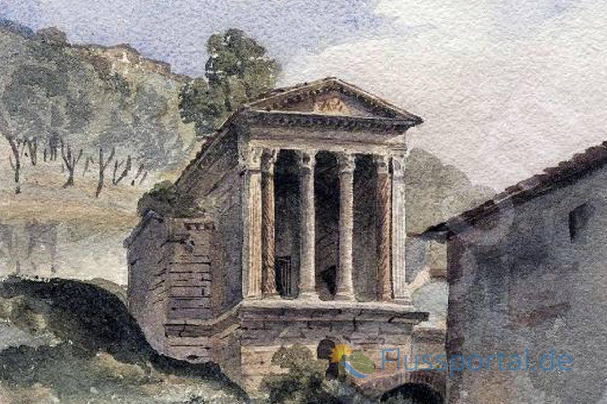 Das umbrische Original des Tempels entstand im fünften nach-christlichen Jahrhundert und steht auch heute noch oberhalb der Quelle Clitunno in der Nähe von Spoleto